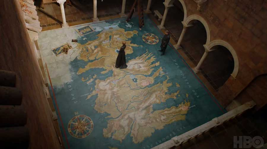 Parcourir la carte / Looking over the Map. Game of Thrones Season 7, Episode 1