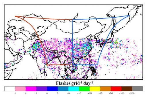 LMI Coverage & One Month of lightning detections from the TRMM Satellite - Image: CMA/NSMC