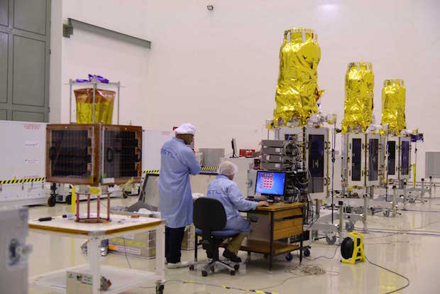 The CBNT-1 and DMC3 satellites (left to right) inside a clean room at the PSLV launch base in India. Credit: ISRO