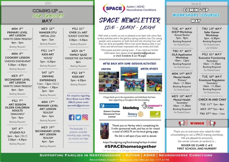 SPACE's monthly newsletter detailing all the events coming up in May