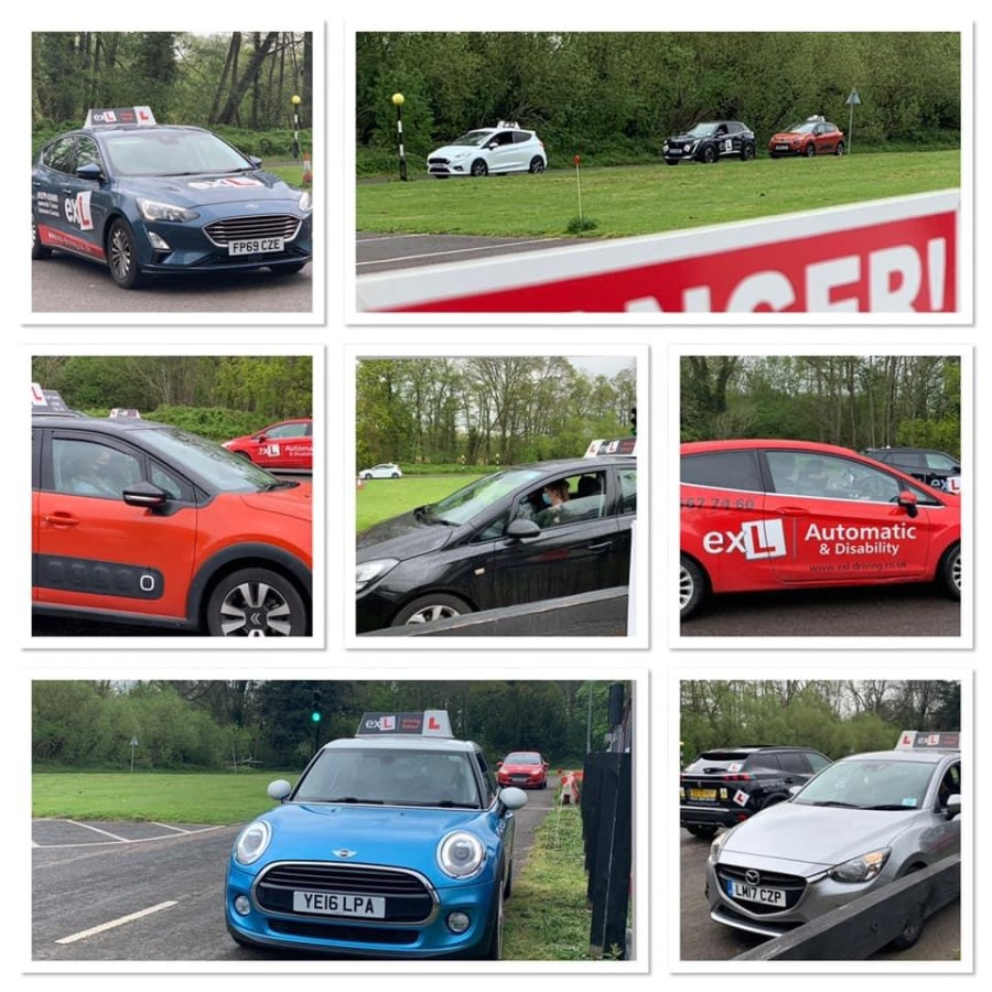 A montage of photos of learner drivers in their cars
