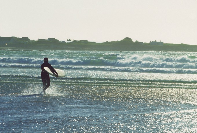 Surfing at Vazon Bay Guernsey