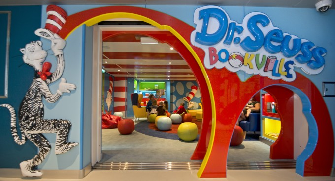 The Carnival Freedom features the Dr. Seuss Bookville facility -- a unique and dedicated Seuss-themed play space featuring iconic décor, colors, shapes and funky furniture inspired by the whimsical world of Dr. Seuss. The venue offers a place for families to relax, unwind and enjoy each other's company. Guests can read one of many available Dr. Seuss books or stretch their imagination through other family-fun activities including arts and crafts, toys and Dr. Seuss-inspired games. (Andy Newman/Carnival Cruise Lines)