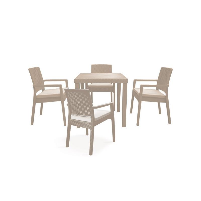 salon de jardin boheme grege 4 chaise avec coussins et table