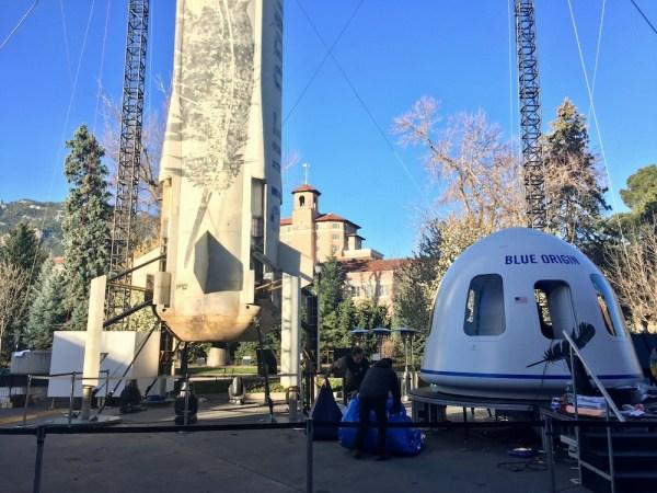 Blue Origin erects New Shepard outside the Broadmoor ...
