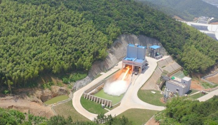 Aerial view of Chinese private launch firm Landspace testing its Tianque-12 methalox engine at a facility in Huzhou.