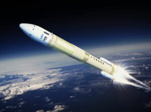 An illustration depicting launch of Japan's new H3 rocket.