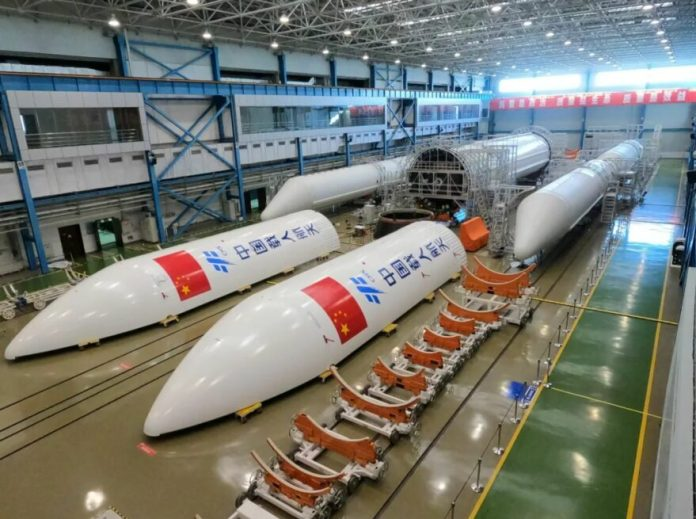 Components of the Long March 5B (Y2) to launch the Chinese space station core module at a facility in Tianjin.