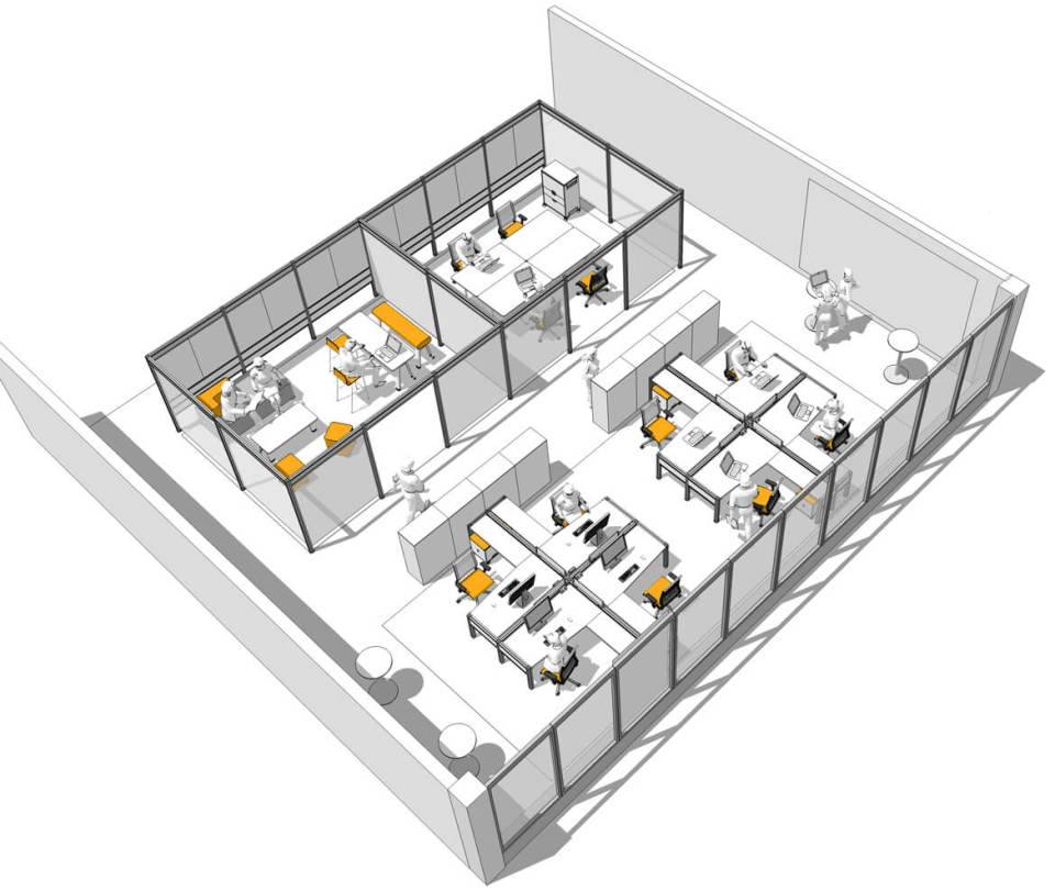 Image of a CAD drawing of a well designed office space