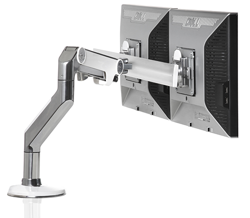 image of a office desk ergonomics height-adjustable dual monitor arm