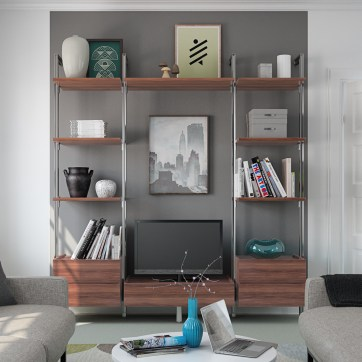 Living room with Walnut effect Relax storage.