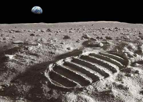 Footprint of astronaut on the moon