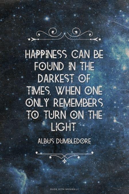 Albus Dumbledore quote about light