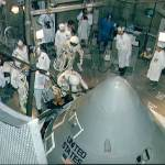 The Apollo 1 crew enter their spacecraft in the altitude chamber at Kennedy Space Center, October 18, 1966