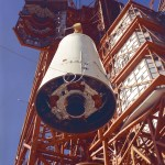 LM 1 inside adapter being hoisted to the booster