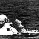 Apollo 7 Crew practice climbing out of the spacecraft