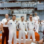 Apollo 7 crew is welcomed aboard the USS Essex