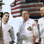 Borman, Anders, Lovell, on the flight deck of the carrier U.S.S. Yorktown, recovery ship Dec. 27, 1968.