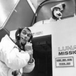 Gene Cernan outside LM simulator
