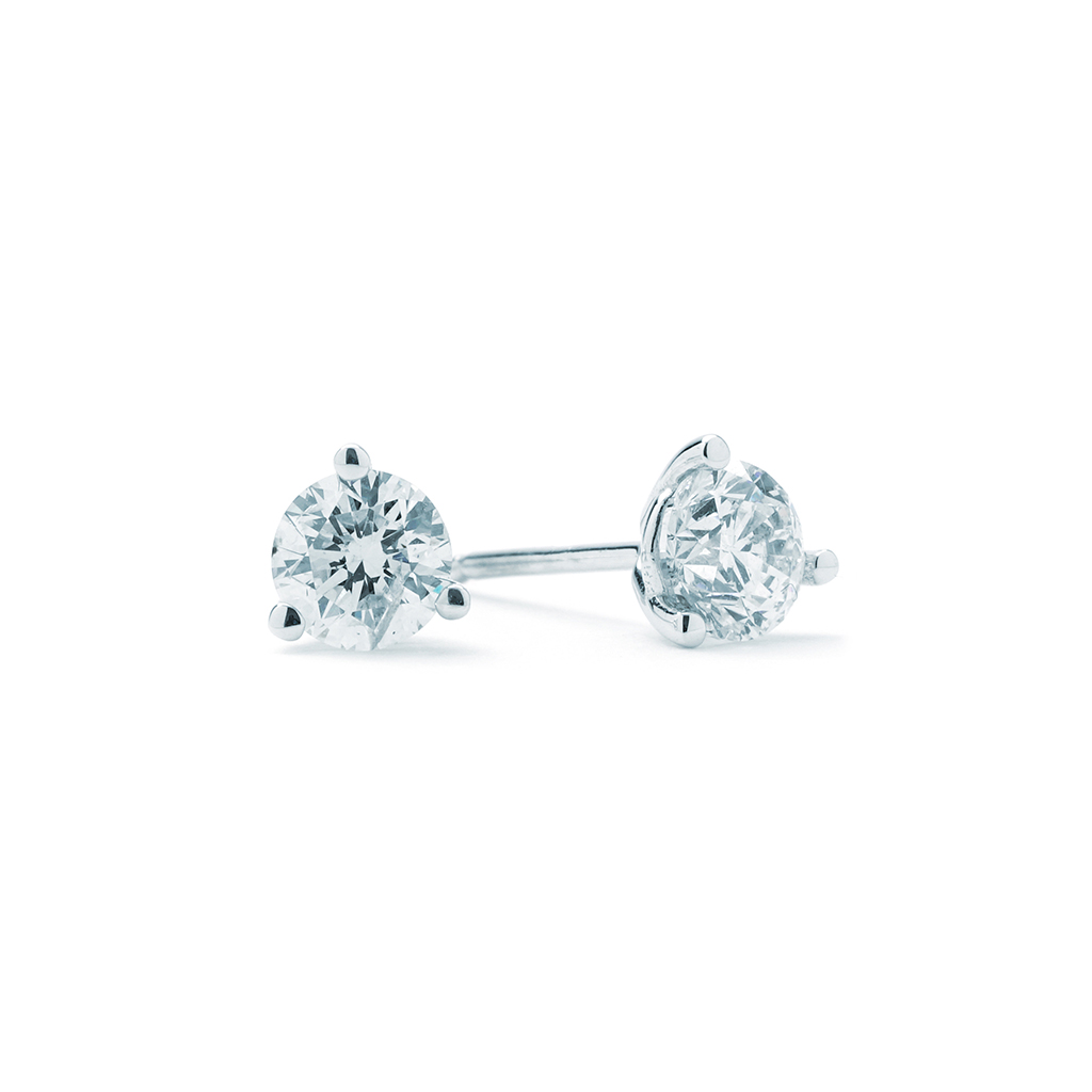 3 4cttw Round Diamond Studs Three Prong E 14k White