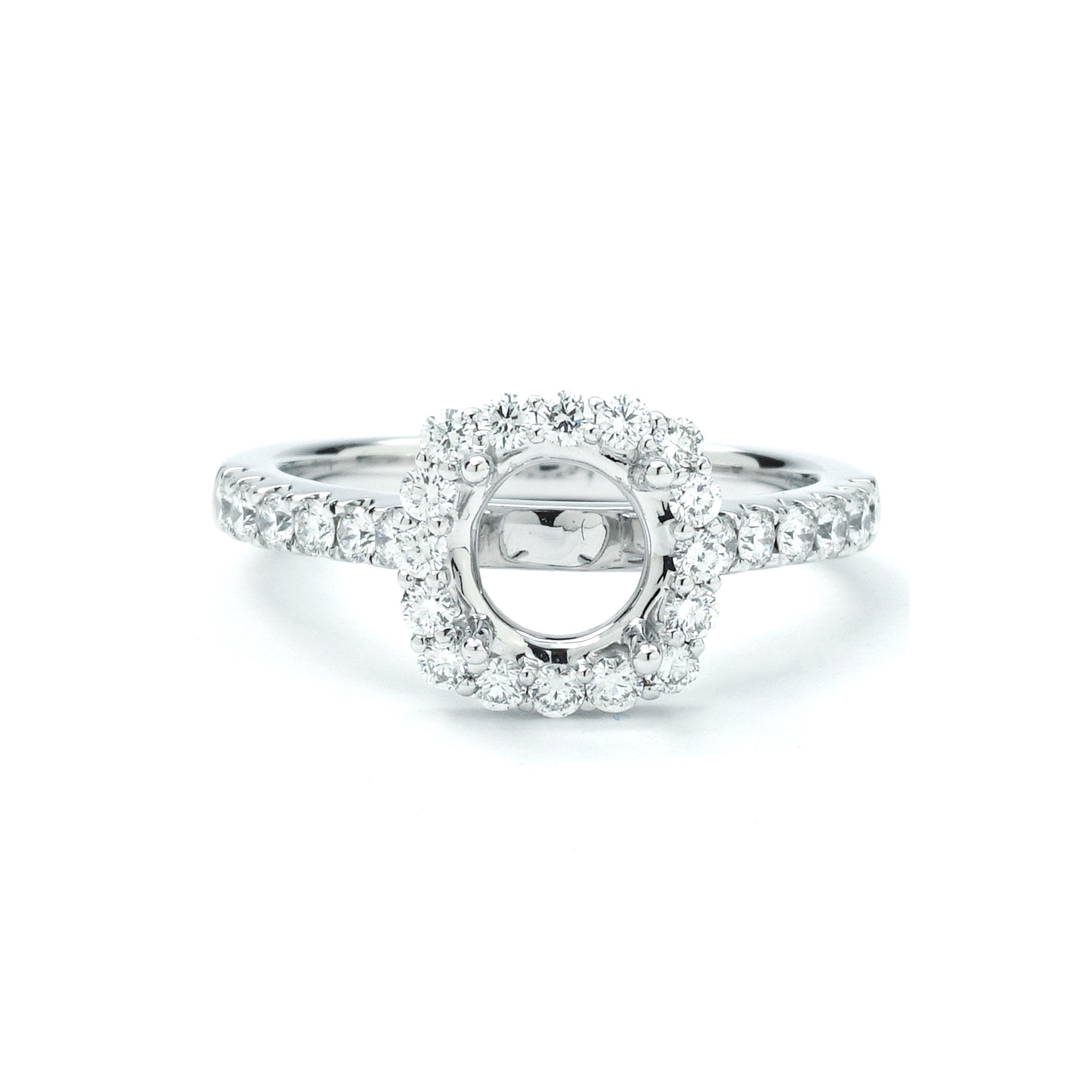 Unique Shaped Scalloped Shared Prong Halo Setting S