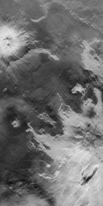 Pale grey flower-like shapes denote two massive volcanoes as viewed from above, largest in the bottom right and smallest in the top left. The dark grey areas show the lowland plains in between volcanoes on Venus.