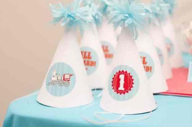 Boys Train Themed Birthday Party hats