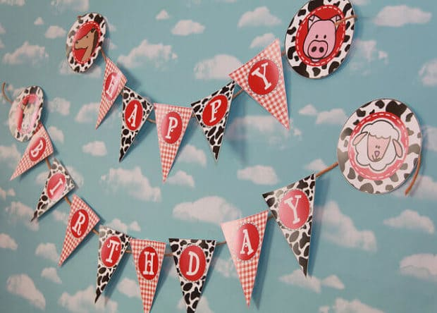 boys barnyard themed birthday party banner ideas