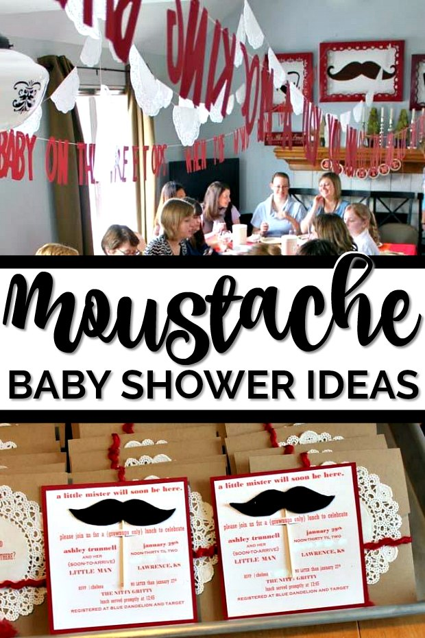 Photo collage of decorations and invitations from moustache themed baby shower