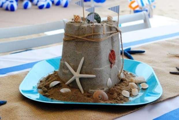 Boys Beach Themed Birthday Party Sandcastle Centerpiece