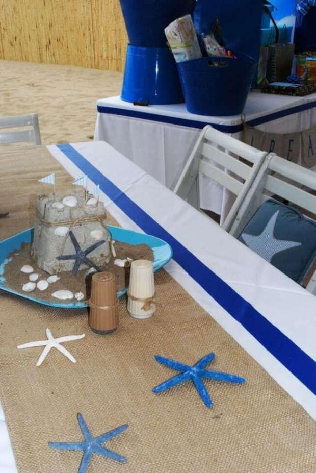 Boys Beach Themed Birthday Party Table Decorations Ideas