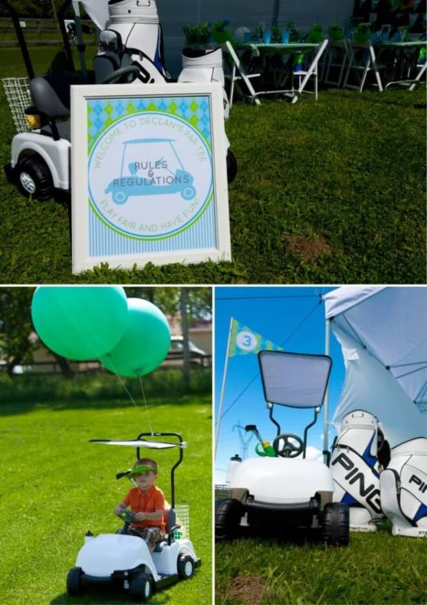 Boys Golf Birthday Party Cart Decorations