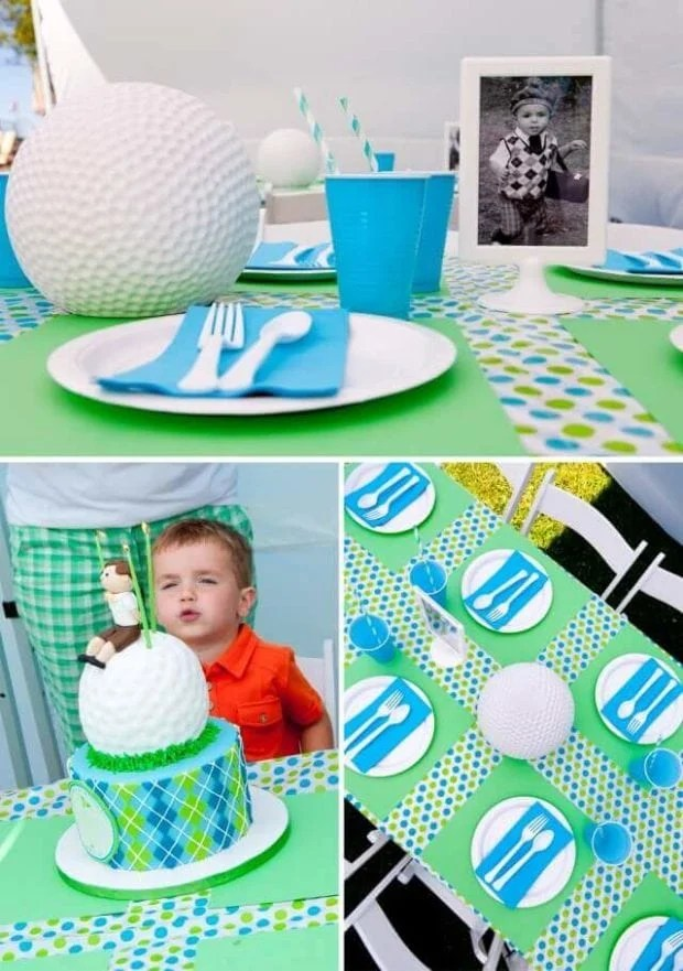 Boys Golf Themed Party Table Decorations