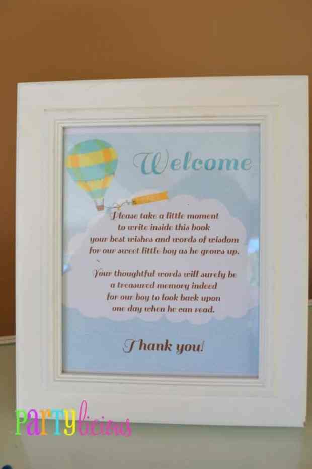 Boys Hot Air Balloon Baby Shower Well Wishes