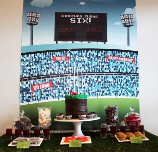 Aussie Rules Football Birthday Party Dessert Table