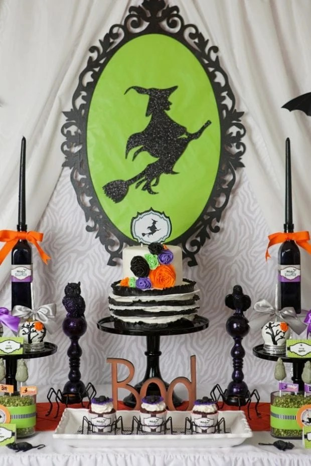 Witch Themed Halloween Party Dessert Table Backdrop