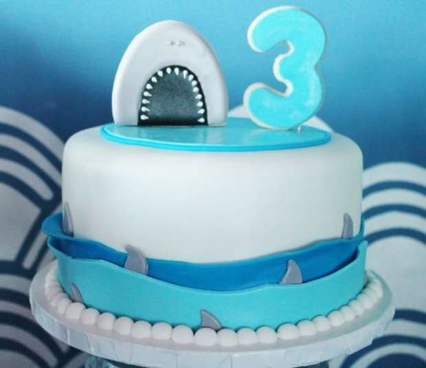 Boys Shark Themed Birthday Party Shark Cake