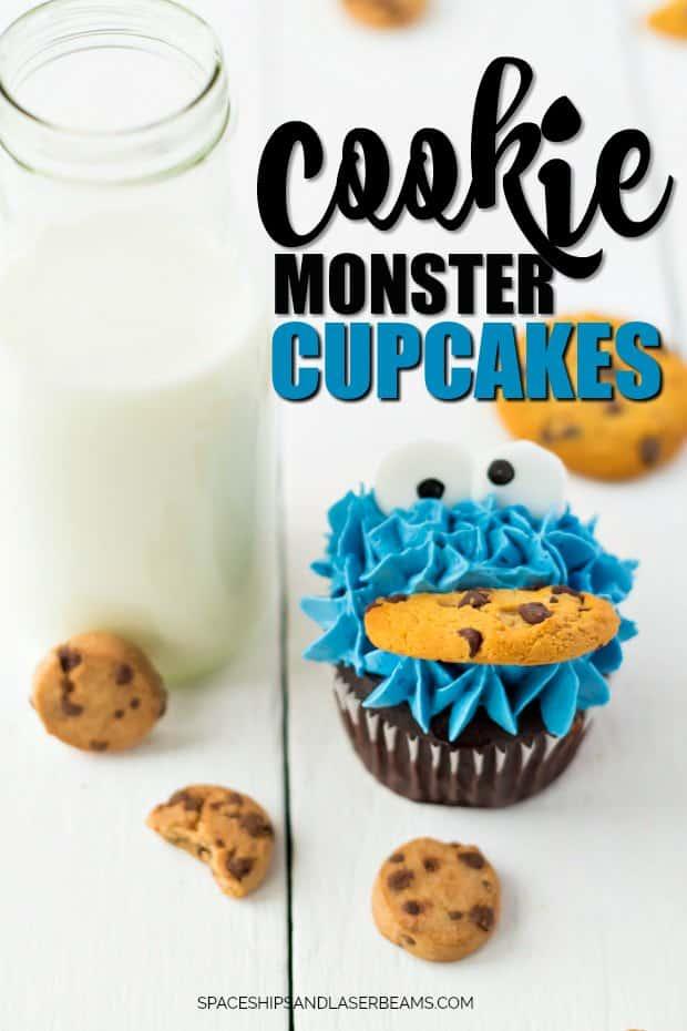 Cookie Monster Cupcake Beside Bottle of Milk