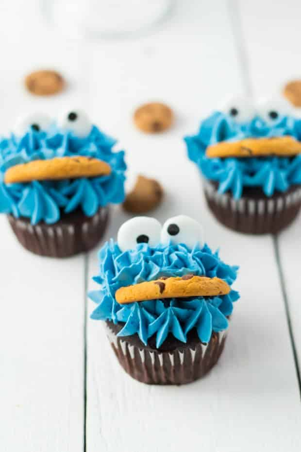 three cookie monster cupcakes
