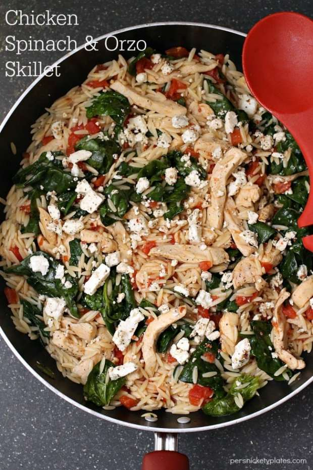 Chicken Spinach & Orzo Skillet