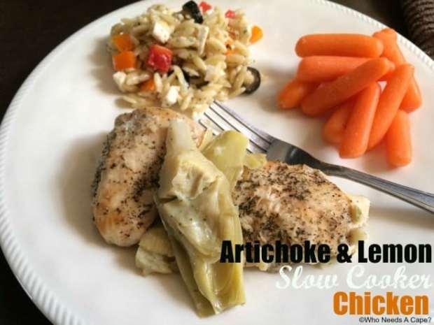Artichoke Lemon Slow Cooker Chicken
