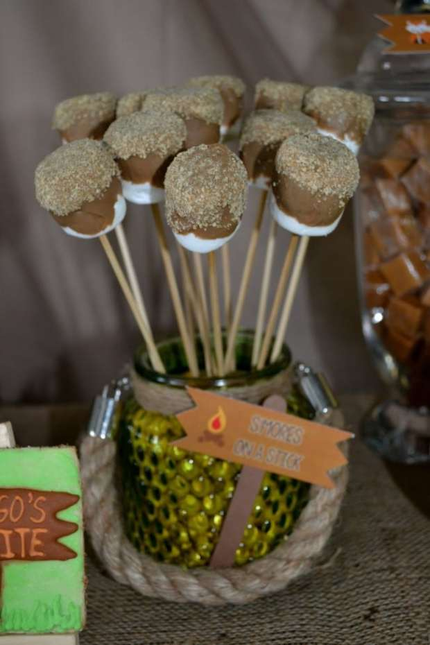 Boys Woodland Camping Birthday Party Food on a stick