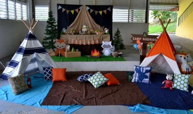 Boys Woodland Themed Party Camping Decorations