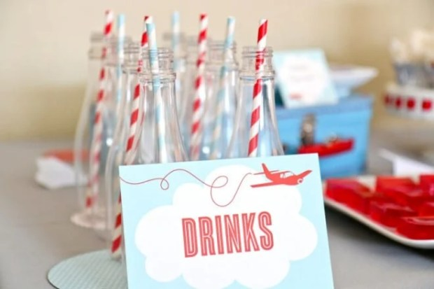 Airplane Themed Birthday Party Drink Ideas