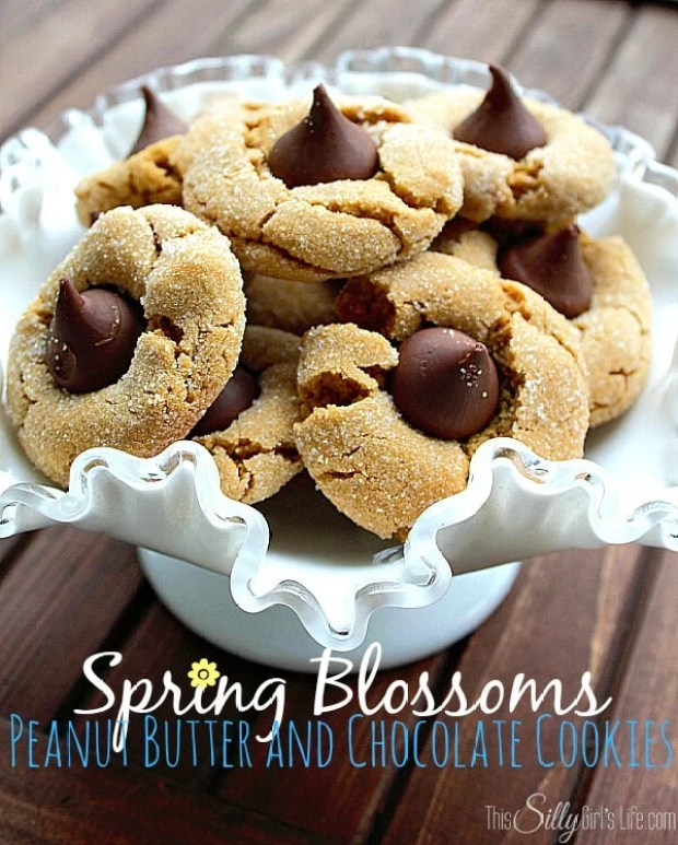 Spring Blossoms Peanut Butter and Chocolate Cookies