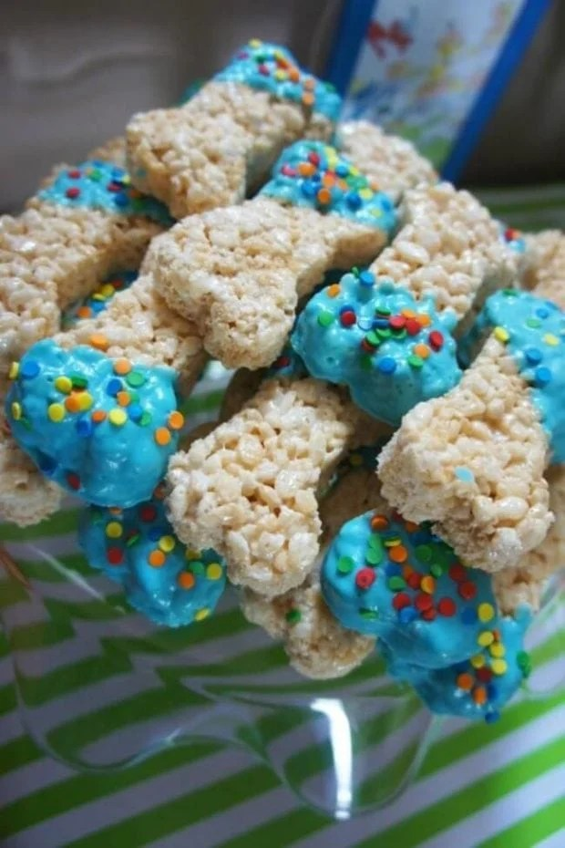Bone Shaped Rice Krispy Treats for a PAW Patrol-themed party.