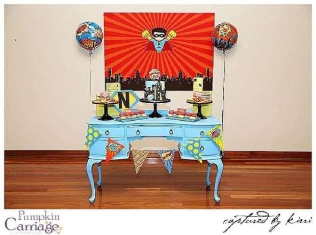 Boys Superhero Themed Birthday Party Dessert Table Ideas