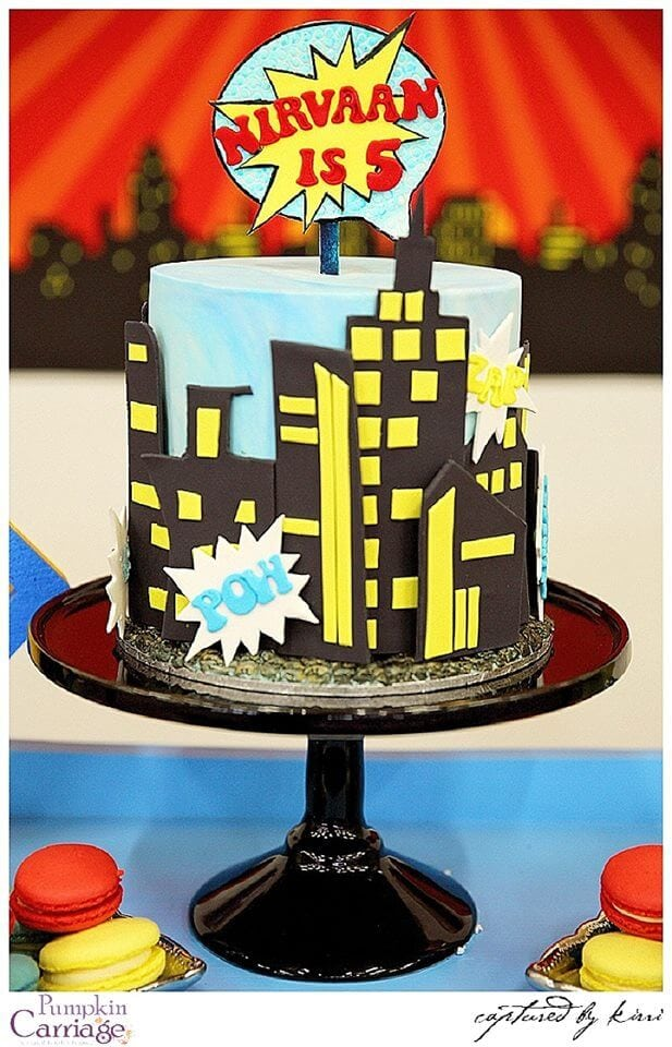 Boys Superhero birthday party cake ideas