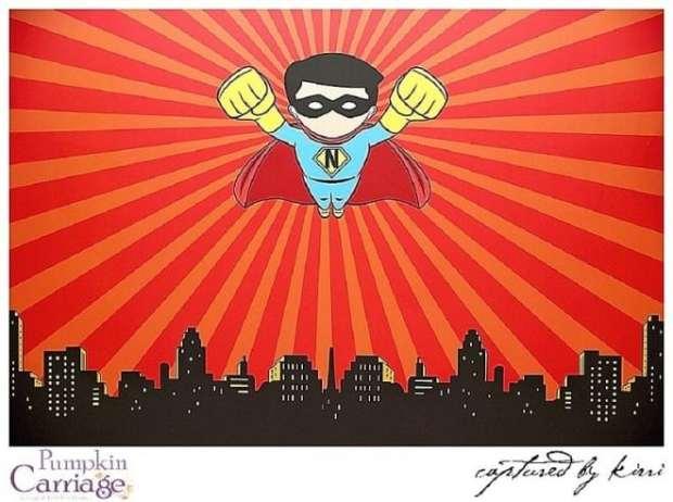 boys superhero party backdrop idea