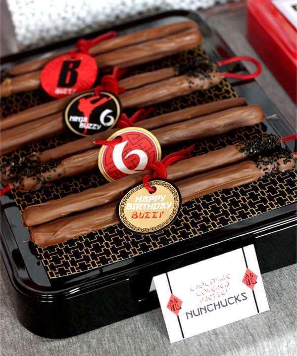 These edible chocolate pretzel nunchucks are delightfully theme appropriate.